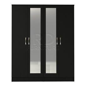 classy 4 door double mirrored wardrobe full black