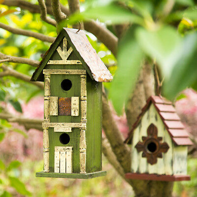 "Glitzhome 12.8""H Hanging Tall Two-Tier Hand Painted Wood Bird House Feeder Nest"