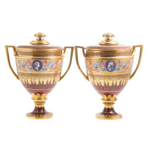 Antique Pair Royal Vienna porcelain covered urns