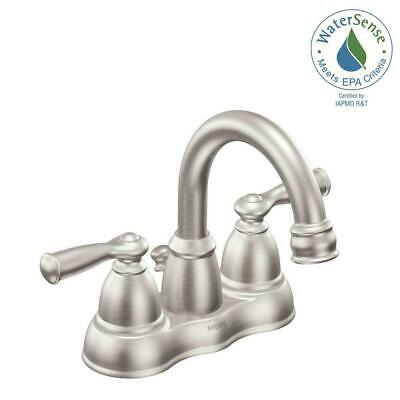 MOEN Banbury 4 in. Centerset 2-Handle Bathroom Faucet Spot Resist Brushed -