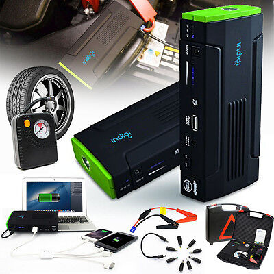 Heavy Duty Portable Battery Power Bank Jump Starter w/ Tire Compressor 12800mAh