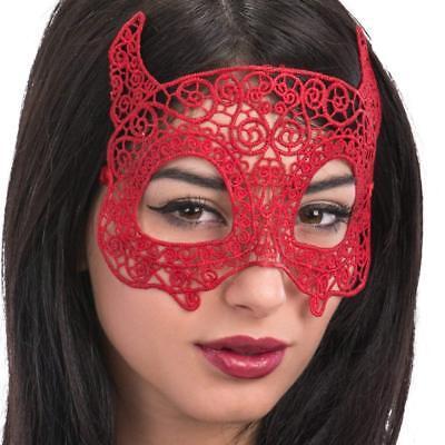 Damen Rote Spitze Devil Eye Maske Halloween Kostüm Maskerade Zubehör Neu