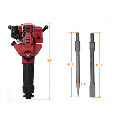 52cc 2 Stroke Gas Demolition Jack Hammer Concrete Breaker Drill 2 Chisels 2.4hp