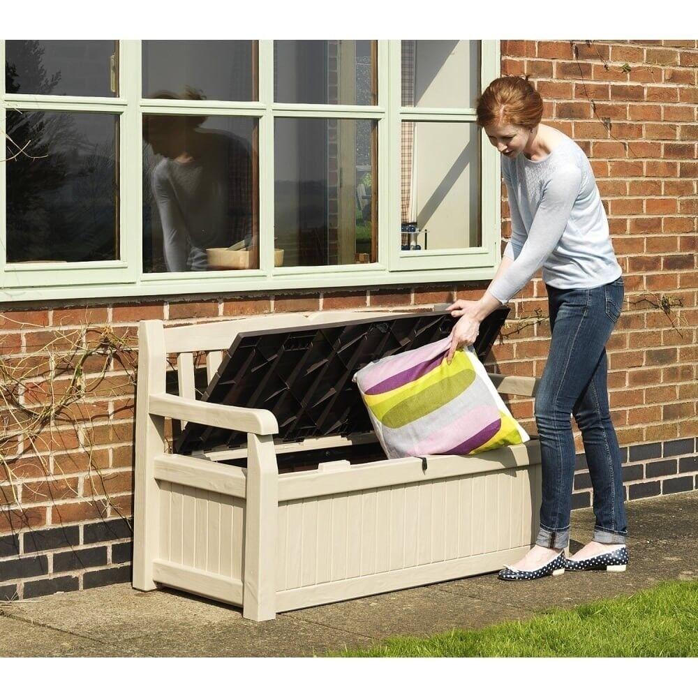 Fine Keter Eden Bench Outdoor Plastic Storage Box Garden Furniture Beige And Brown 140 X 60 X 84 Cm In Byfleet Surrey Gumtree Andrewgaddart Wooden Chair Designs For Living Room Andrewgaddartcom