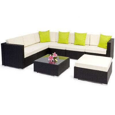 Alu Polyrattan Sitzgruppe Lounge Rattanmöbel Gartenmöbel Couch schwarz BWare