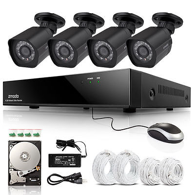 Zmodo 1080P HD IP Network 8CH NVR sPoE 4 Security Surveillance Camera System 1TB