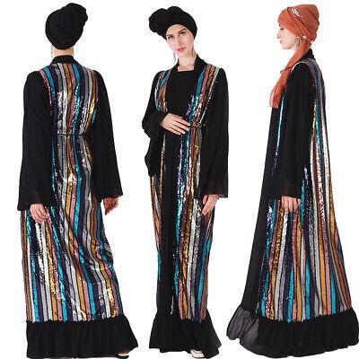 Women Muslim Abaya Open Cardigan Sequins Maxi Dress Kaftan Islamic Robe Jilbab