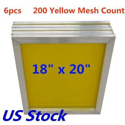 Usa 6pcs 18 X 20 Aluminum Frame Silk Screen Printing Screens 200 Mesh Count