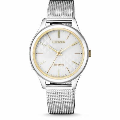 Citizen Eco-Drive Women's Gold Tone Accent Mesh Bracelet 32mm Watch EM0504-81A