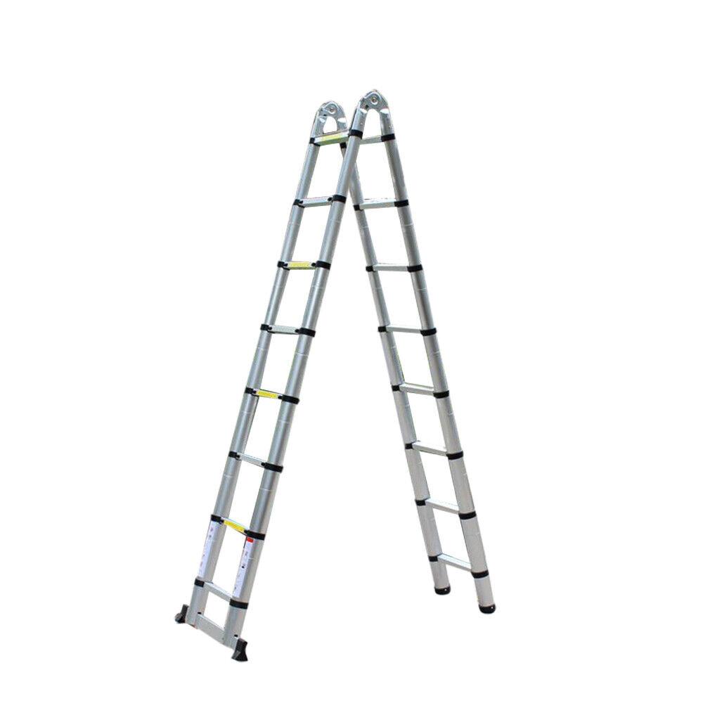 Scala telescopica multifunzioni in alluminio altezza di 5.00m con 16 gradini