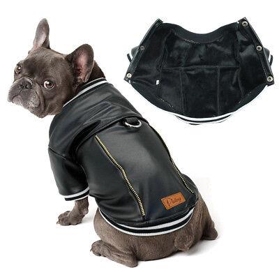 Black Waterproof Dog PU Leather Motorcycle Jacket Dog Clothes Coat Jumpsuit (Dog Motorcycle Jacket)