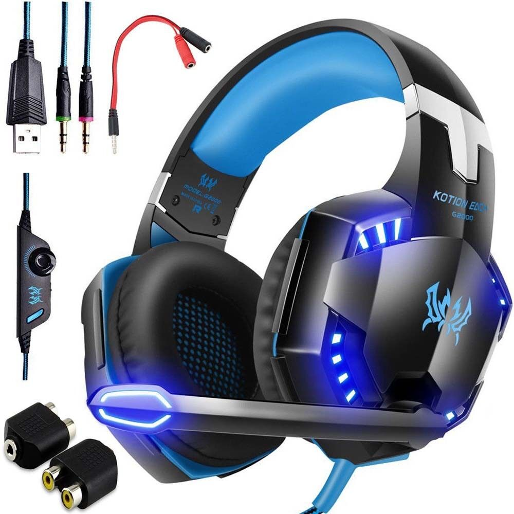 3 5mm gaming headset led headphones stereo