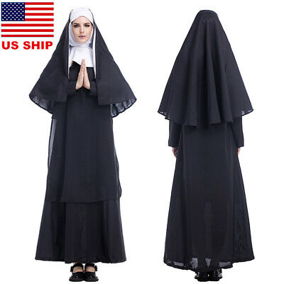Nun Suit (US!Women Adult Halloween Horror Nun Dreadful Costume Cosplay Robe Dress Suit)
