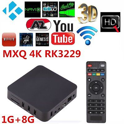 2017 MXQ-4K Android 4.4 Smart TV BOX Latest 16.1 Fully Loaded Quad Core WIFI HD