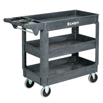 Plastic Utility 3 Tier Tool Cart Dolly Trolley Service Rolling Storage Tub Cart