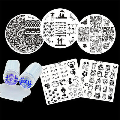 US Seller- Nail Art Stamping Kit With Tiki Plate & Scraper Manicure Tool