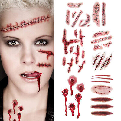 Fake Tattoos For Halloween (Halloween Realistic Fake Bloody Wound Scar Temporary Tattoo Stickers for)