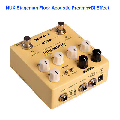 NUX StageMan Floor Acoustic Preamp DI Pedal True Bypass Chorus Reverb For Guitar