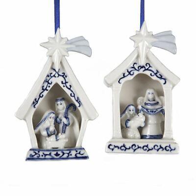 KURT ADLER SET OF 2 PORCELAIN DELFT BLUE HOLY FAMILY NATIVITY XMAS ORNAMENTS