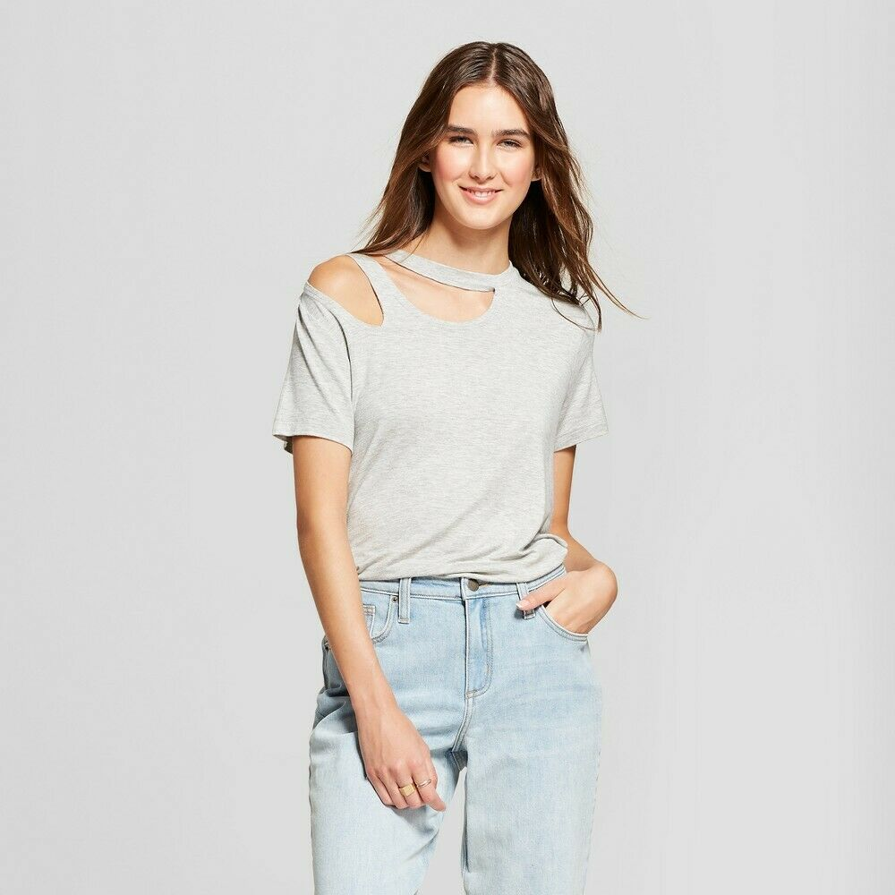 Women's Short Sleeve Asymmetrical Double Cutout Top – Alison Andrews Gray XL Clothing, Shoes & Accessories