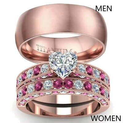 Couple Rings Rose Gold Filled Titanium Steel Mens Band CZ Womens Wedding Ring (Rose Titanium)