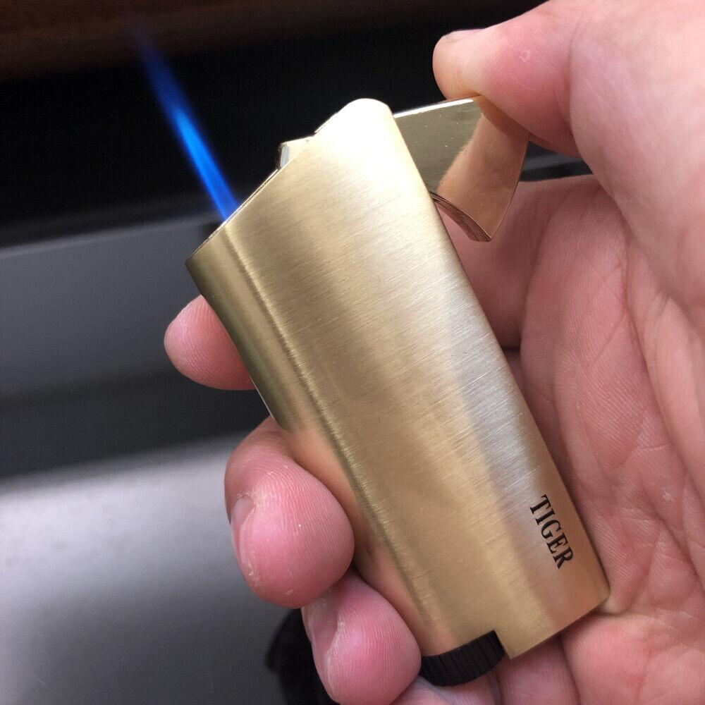 Metal Tiger Jet Flame Refillable Butane Push Button Cigar To