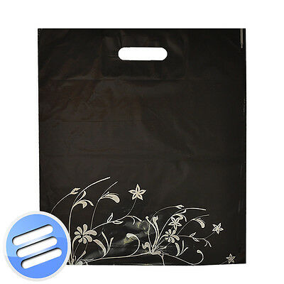 50 x BLACK SILVER FLOWER PUNCH HANDLE PLASTIC CARRIER BAGS- MEDIUM: 15