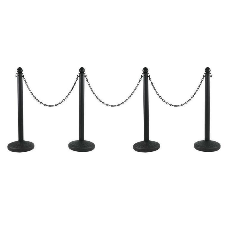 4x Queue Barrier Post Crowd Control Stanchion Pole 3 Chain