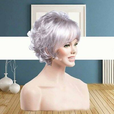 Free Wig Cap Short Grey White Synthetic Hair Natural Curly Wavy Women Wigs#DJ8