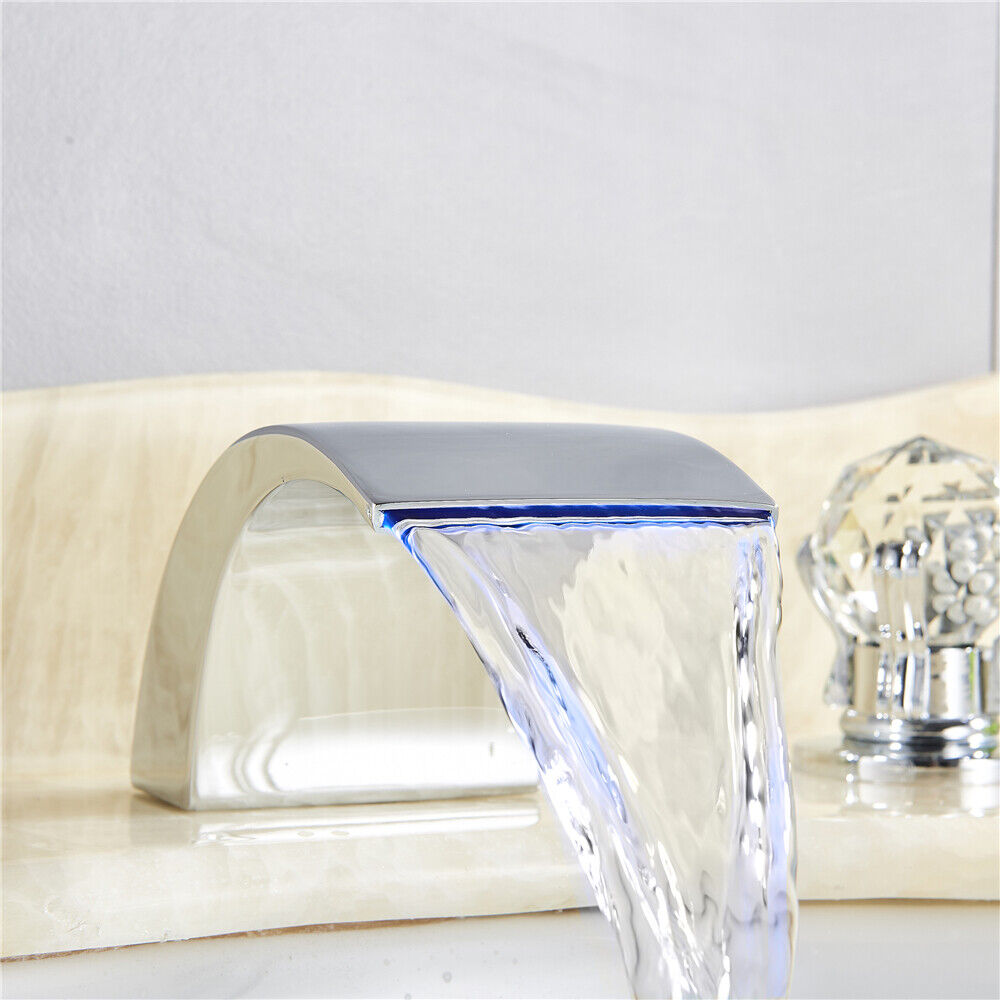 Chrome Widespread LED Basin Sink Faucet Waterfall Bathroom 3 Holes Faucet 6
