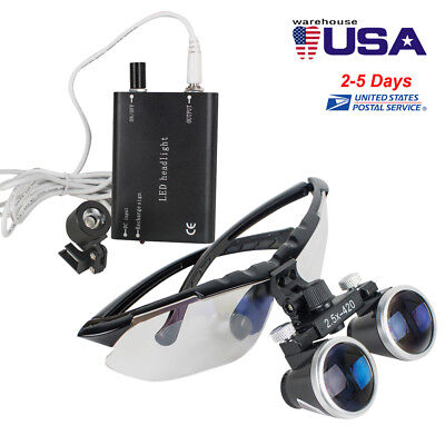 Dental Dentist Surgical Binocular Loupes 2.5x 420mm Led Head Light Lamp Black