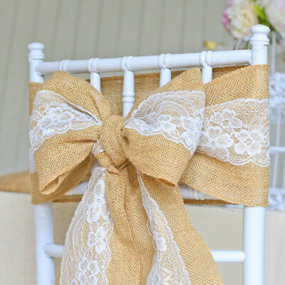 5-30 Pcs Lace Sashes Chair Cover Bows Jute Burlap Rustic Wedding Party Decor ](Burlap Wedding Decor)