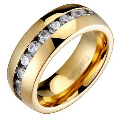Shiny Dome (Titanium Round Cubic Zirconia Band Dome Shiny Gold Plated Men's Wedding Ring )