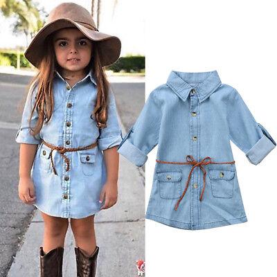 Girls Denim Dresses (Toddler Girls Sundress Dress Kids Baby Party Casual Tops Denim Jeans Dresses)