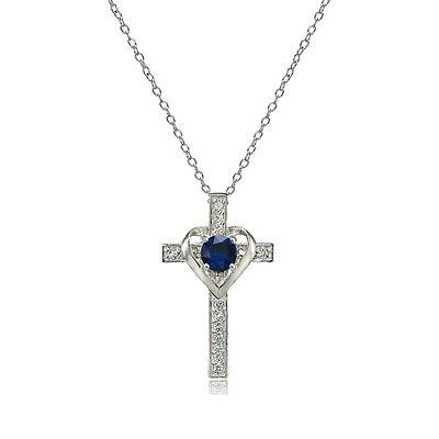 Sterling Silver Created Blue Sapphire & White Topaz Heart in Cross Necklace