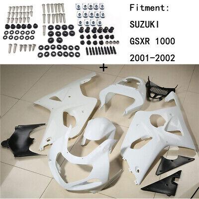 Unpainted ABS Body work Fairing Kit w/ screw For SUZUKI GSXR 1000 2001-2002