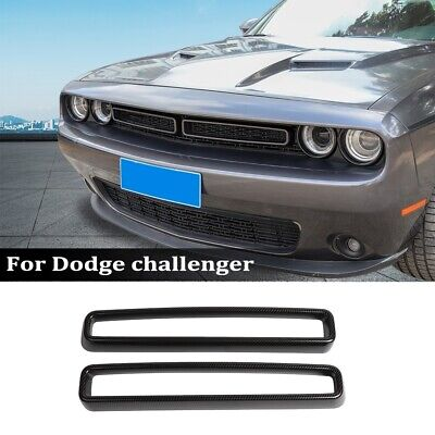 Carbon Fiber Surround Grille Grill Cover Inserts Kit for Dodge Challenger 2015+