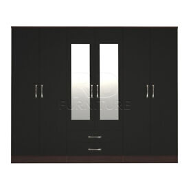 Cornwall model 4, 216cm wide 6 door walnut and black wardrobe