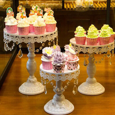 3x Crystal Wedding Cake Stand Dessert Plate Cupcake Holder Wedding Party Display