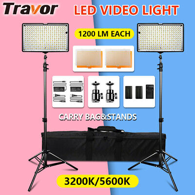 Travor 2IN1 LED Panel Light Video For Studio Camera Photography Lighting + Stand