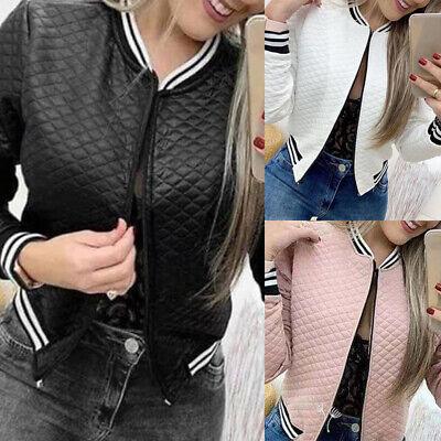 Women Baseball Short Coat Zipper Long Sleeve Bomber Jacket Sport Casual Outwear