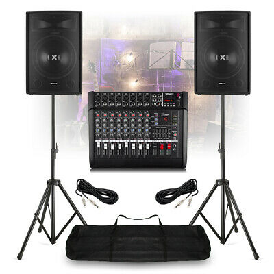 """Band PA System 15"""" Speakers with 8 Channel Powered Mixer Amp with Folding Stands for sale  Shipping to Ireland"""