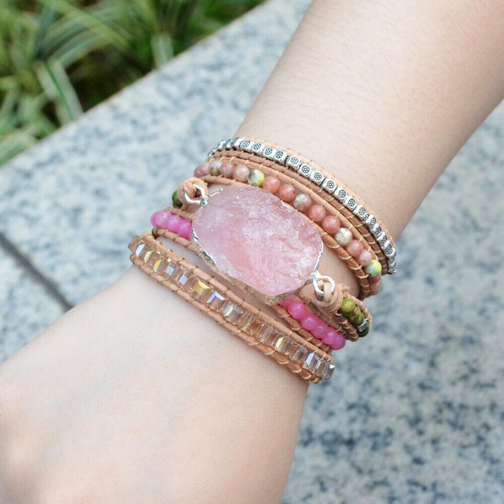 pink beaded wrap bracelet quartz wrap pink quartz boho wrap pink wrap bracelet wrap bracelet boho wrap bracelet boho bracelet