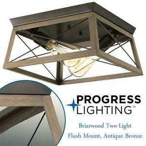 NEW Progress Lighting P350039-020 Briarwood Two-Light Flush Mount, Antique Bronze Condtion: New, Two-Light,