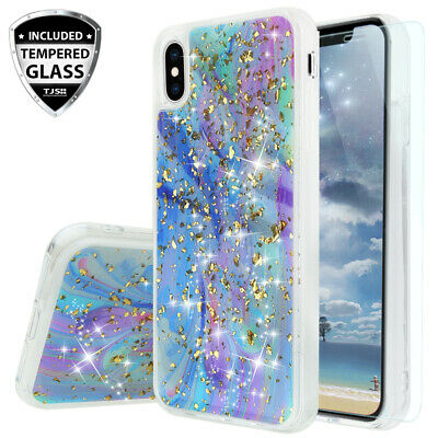 035 Glitter (For Apple iPhone XS Max Marble Glitter Bling TPU Phone Case Cover+Tempered Glass )