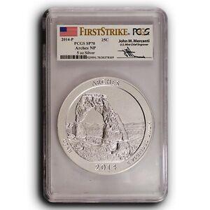 2014-P Arches PCGS SP70 First Strike ATB 5 oz Silver Coin ( Mercanti Signature )