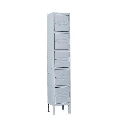 5 Tier Metal Cabinet Storage Locker Heavy Duty Steel 66h 12w 12d Home Office