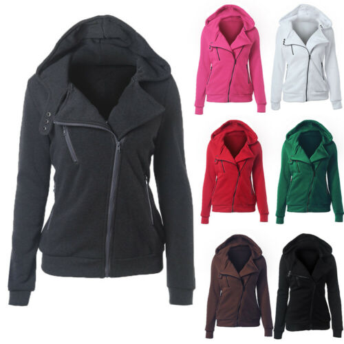 NEW Women Zipper up Jumper Pullover Coat Jacket Hoodie Sweat