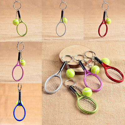 Zinc Alloy Sport Tennis Ball Racket Miniature Collectable Keyrings Keychain