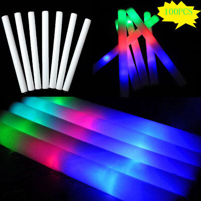 100 PCS Light Up LED Foam Glow Sticks  Wands Rally Rave Batons Flashing Party DJ - Foam Sticks